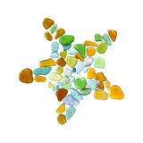 Sea glass peices on white Royalty Free Stock Images