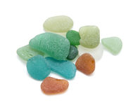 Sea glass. Pieces isolated on white background Royalty Free Stock Images