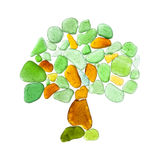 Sea glass pieces on white Royalty Free Stock Photography
