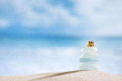 Sea glass seaglass with crown, ocean , beach and seascape Stock Photo