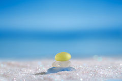 Sea glass seaglass on glitter sand with ocean , beach and seasca Stock Images