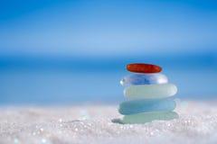 Sea glass seaglass on glitter sand with ocean , beach and seasca Stock Photos