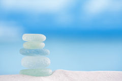 Sea glass seaglass with ocean , beach and seascape. Sea glass seaglass with ocean , white sandy beach and seascape, shallow dof Stock Image