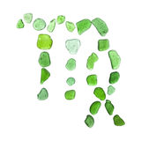 Sea glass zodiac sign. Sea glass astrological sign Virgo, the maiden, on white background stock images