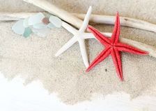 Sea glasses, starfish and wood - Tropical travel Stock Photography
