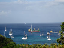 Sea-going vessels at port elizabeth, bequia Stock Photo