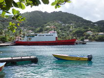 Sea-going vessels at port elizabeth, bequia Royalty Free Stock Images