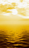 Sea gold. Naturalistic illustration of the sea or ocean at quiet weather Royalty Free Stock Photo