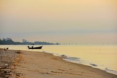 Sea and gold sky Sunrise. And small fishing boats. In the early morning if Cha-am Thailand Stock Images