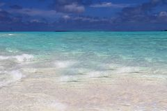 The sea and the golden sands of the Maldives Bahamas, the address of the peace Stock Photos