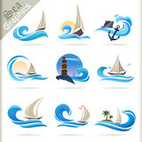 Sea Graphics Series - Premium Sea Travel Icons Royalty Free Stock Photo