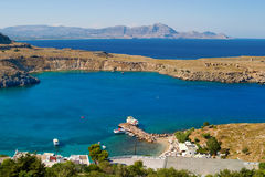 Sea in Greece. Mediterranean Sea. Sea harbor in Greece stock image