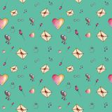 Sea-green cute cartoon valentine pattern. With different elements about love Stock Photo