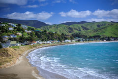 Sea and green hills landscape Stock Image