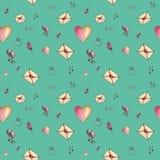 Sea-green leuke patroon van de beeldverhaalvalentijnskaart Stock Foto
