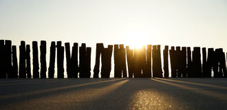 Sea groynes at sunset Royalty Free Stock Images