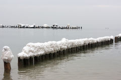 Sea groynes in winter. A winter view of a calm sea water with lines of groynes poles with ice and snow caps Royalty Free Stock Photo