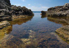 Sea gulf. Seascape of a beautiful gulf, regularly shaped Stock Images