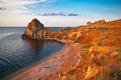Sea gulf on a sunset Royalty Free Stock Photo