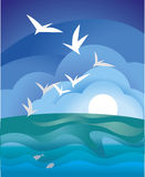 Sea gull. Simple vector  illustration Stock Image