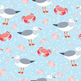 Sea gulls and crabs seamless pattern Royalty Free Stock Photos