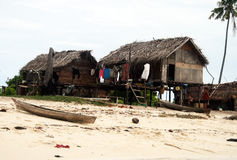 Sea gypsies. A small village of sea gypsies on sibuan island in malaysian borneo.october 2010 Royalty Free Stock Photo