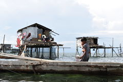 The Sea Gypsies. Bajau People... Stock Photo