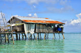 Sea gypsies houses on stilts at Semporna, Sabah, Malaysia Royalty Free Stock Photo