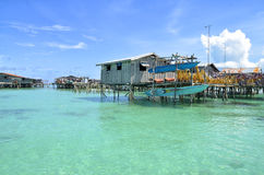 Sea gypsies houses on stilts at Semporna, Sabah, Malaysia Stock Images