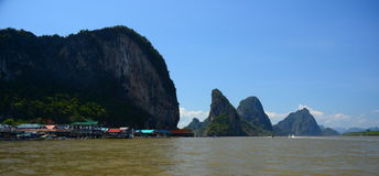 Sea gypsies over-water village. Phang Nga Bay. Thailand. Phang Nga Bay is a bay in the Strait of Malacca between the island of Phuket and the mainland of the Royalty Free Stock Images