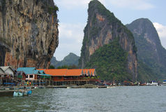 Sea Gypsy village. Phang Nga, Thailand Royalty Free Stock Photo