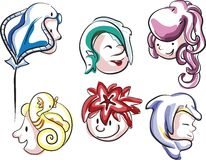 Sea Hairdo. A set of illustrations on sea creatures vector illustration