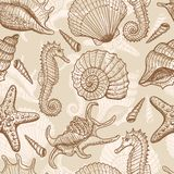 Sea hand drawn seamless pattern Royalty Free Stock Photos