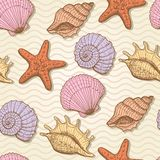 Sea hand drawn seamless pattern Stock Photo