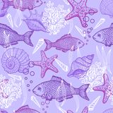 Sea hand drawn seamless pattern Stock Photos
