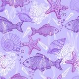 Sea hand drawn seamless pattern Stock Photos