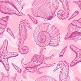 Sea hand drawn seamless pattern Royalty Free Stock Image