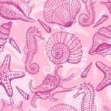 Sea hand drawn seamless pattern Royalty Free Stock Image