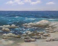 Sea, handmade painting. Sea waves, handmade oil painting on canvas Royalty Free Stock Photos