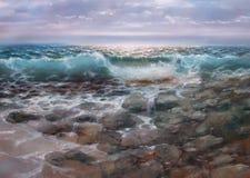 Sea, handmade painting. Sea waves, handmade oil painting on canvas Royalty Free Stock Images