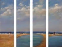 Sea, handmade painting. Sea waves, handmade oil painting on canvas Royalty Free Stock Photo