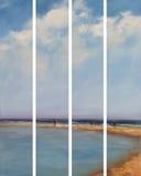 Sea, handmade painting. Sea waves, handmade oil painting on canvas Royalty Free Stock Image