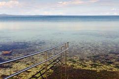 Sea Handrails. Beautiful Adriatic coast near Zadar, Croatia Royalty Free Stock Image
