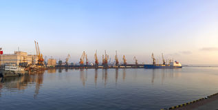 Sea harbor morning panorama. Odessa. Ukraine Royalty Free Stock Images
