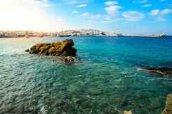 Sea harbour. A sea harbour in Mykonos island locate in Aegeon sea Royalty Free Stock Images