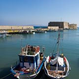Sea harbour with parking fishing boats. Heraklion, Crete, Greece stock photography