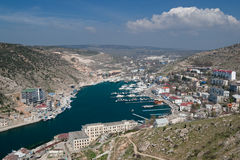 Sea harbour for yachts. Ukraine, Crimea, Balaklavsky bay, harbour for yachts and the small ships Stock Images