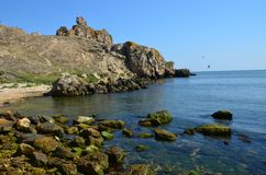 The sea has departed. Warm clear day after low tide Royalty Free Stock Photo