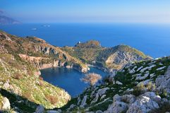 The sea in the heart. From the Italian coasts a curious resemblance to our heart. It is the bay of Ieranto in the province of Naples stock photo