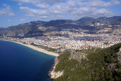 Sea, hill and beach in Alanya Stock Photography